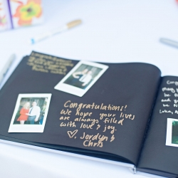 Polaroid guest books are the perfect touch to let guests have fun especially at this spring wedding at The Ivy Place coordinated by Magnificent Moments Weddings