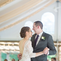 Bride and groom share a sweet moment during their first dance at The Ivy Place captured by The Beautiful Mess Photography