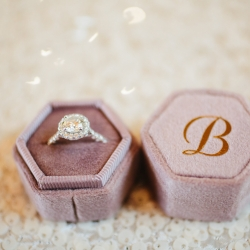 Wedding ring nestled in a blush box is a stunning detail shot captured by Alex Bee Photography