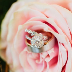 Alex Bee Photography captures stunning detail shots of bridal jewelry set in a blush pink rose