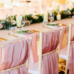 Blush runners from BBJ accent gold chiavari chairs at the Magnolia in the Tennessee Mountains