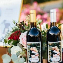 Bride and groom created custom wine labels to share with their guest at their mountain top fall wedding at The Magnolia