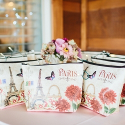 Custom bags given to bridesmaids are sweet gifts given during a mountain top wedding coordinated by Magnificent Moments Weddings