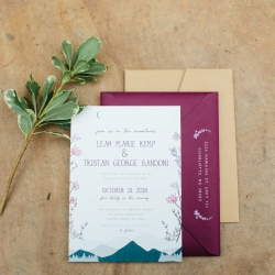 Alex Bee Photography captures detail shots of stunning wedding invitations with a nod to the couples mountain top vows