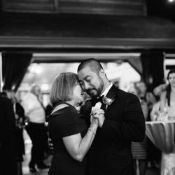 Groom shares a dance with his mother with music provided by Carolina DJ Professionals during their wedding reception captured by Alex Bee Photography
