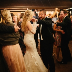 Bride and groom share a dance to music provided by Carolina DJ Professionals during their mountain top wedding in Pigeon Forge Tennessee