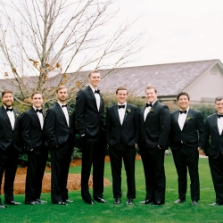 Ally and Bobby Photography captures a groom and his groomsmen before his winter wedding at Carmel Country Club