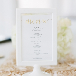 Detail shot of reception menu at Vesuvius Vineyards catered by Chillin and Grillin captured by Almond Leaf Studios