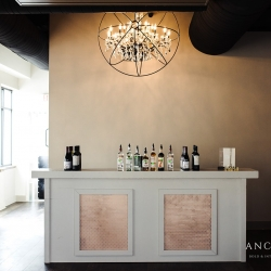 Best Impressions Catering's bar is the perfect accent during a modern wedding at Terrace at Cedar HIll
