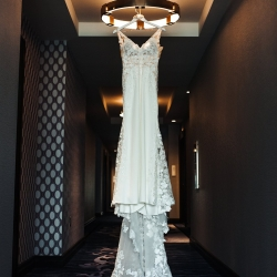 Anchor and Veil Photography captures a stunning bridal gown as she prepares for her wedding at Terrace at Cedar Hill