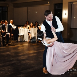 Groom shares a dance with his new step daughter to music from Split Second Sound during their wedding reception coordinated by Magnificent Moments Weddings