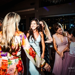 Bride is all smiles on the dance floor during her wedding with music provided by Split Second Sound