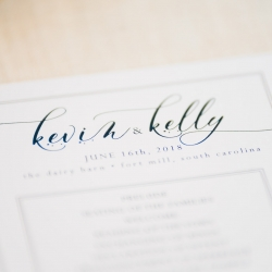 Detail shot of wedding program captured by Ashley Sue Photography for a wedding at The Dairy Barn coordinated by Magnificent Moments Weddings
