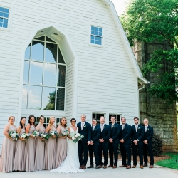 Ashley Sue Photography captures the bridal part in front of The Diary Barn in Fort Mill, South Carolina, before their spring wedding coordinated by Magnificent Moments Weddings