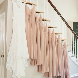 Details of bridal gown and bridesmaids gown before a wedding at The Diary Barn as captured by Ashley Sue Photography