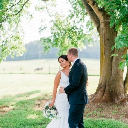 Bride and groom pose under an old tree during their southern wedding at The Diary Barn