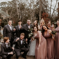 Avonne Photography captures a bridal party on the grounds of Ritchie Hill during their fall wedding