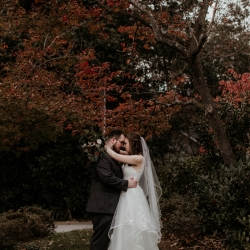 Avonne Photography captures a sweet moment between a bride and groom during their fall wedding at Ritchie Hill