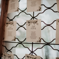 Seating chart shows guests their tables during a fall wedding at Ritchie Hill