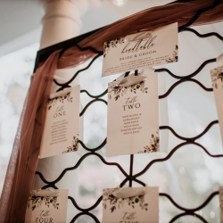 Sweet seating chart captured by Avonne Photography for a fall wedding at Ritchie Hill