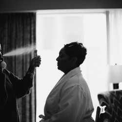 Monique Simone and Dondria Gadsden complete a stunning hair and makeup look for a spring bride