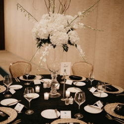 White hydrangea centerpieces created by Partyblooms create a statement for a spring wedding designed by Magnificent Moments Weddings