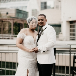 Avonne Photography captures a bride and groom on their wedding day in Uptown Charlotte North Carolina