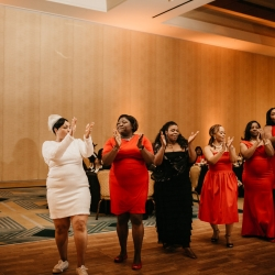 Bride dances with her friends and family during her fun reception with music provided by Ceasefire Productions