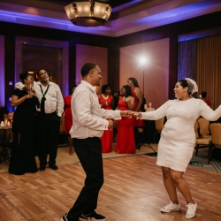 Bride and groom share a first dance to music provided by Ceasefire Productions during their wedding designed by Magnificent Moments Weddings