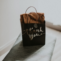 Thank you bags are the perfect way to give back to your guests who have traveled far to watch you become one
