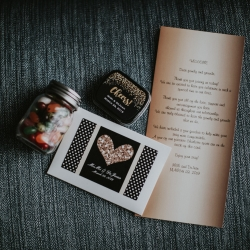 Fun welcome bags let the bride and groom gift their guests before wedding day planned by Magnificent Moments Weddings