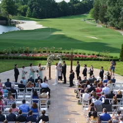 Georgestreet Photography captures the wedding ceremony from above on the stunning grounds of The Ballantyne Hotel