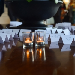 Escort cards set in neat rows are the perfect touch for a spring wedding at The Ballantyne Hotel