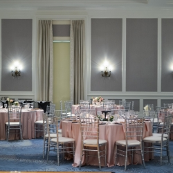 Soft pink linens and silver chavari chairs were the perfect accent to the ball room at The Ballantyne Hotel