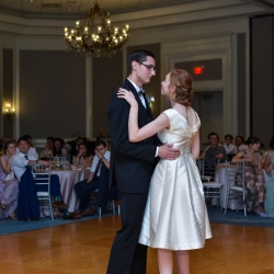 Bride and groom share a first dance during their wedding reception at The Ballantyne Hotel captured by Georgestreet Photography