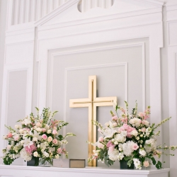Detail of the cross at Belk Chapel which served as the backdrop for a romantic wedding ceremony in Uptown Charlotte
