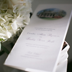 Old South Studios captures a detail shot of a wedding program for a ceremony at Belk Chapel in Uptown Charlotte