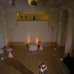 Private last dance between bride and groom to music by Split Second Sound during their wedding reception at The Levine Museum of the New South