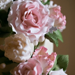 Old South Studios captures a stunning detail shot of bridal florals for a pink and gray wedding in Uptown Charlotte