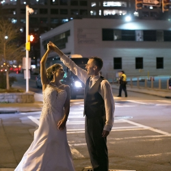 Old South Studios captures the twirl of a bride in Uptown Charlotte