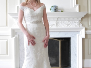 Beautiful bride in a lace wedding gown