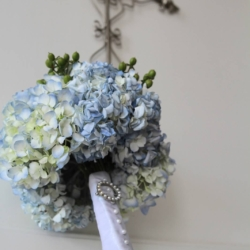 blue hydrangea bouquet at Forest Hill Church in Charlotte, NC
