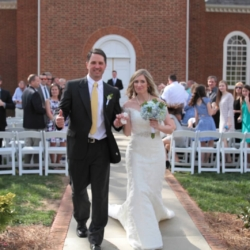 Bride and groom celebrating walking down the aisle!