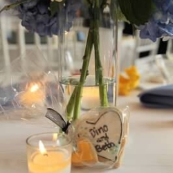personalized wedding cookies with blue and yellow from Suarez Bakery