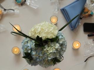 hydrangea centerpieces with votives