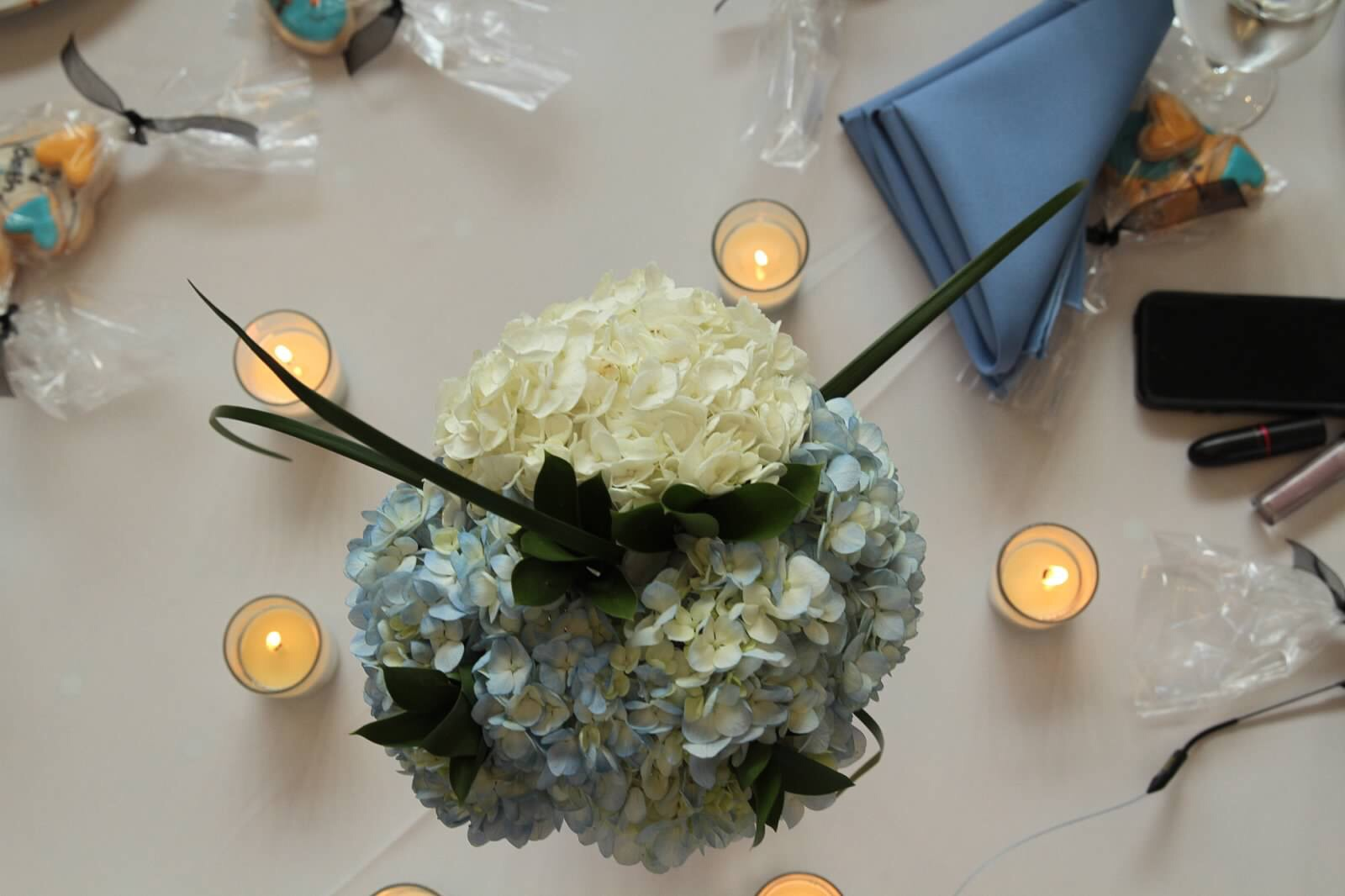 hydrangea centerpieces with votives