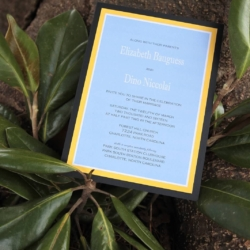 Blue and yellow wedding invitation done by Laurie Louis