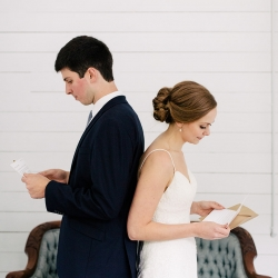 Bride and groom exchange sweet notes of love before their ceremony and are captured by Cameron Faye Photography