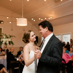 Bride share a dance with her father to music provided by Carolina DJ Professionals during her summer wedding in Fort Mill South Carolina