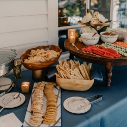 An amazing appetizer spread created by Delectables by Holly kept guests full during a fall wedding at Ritchie Hill
